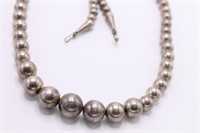 .925 Sterling Silver Beaded Necklace