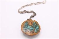 .925 Sterling Silver Walnut/ Stone Necklace
