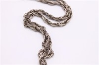 .925 Sterling Silver Chain Rope Necklace
