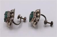 .925 Sterling Silver Mexican Jade Screwback