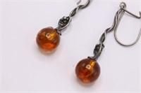 .925 Sterling Silver Vintage Amber Dangle