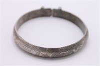 .925 Sterling Silver Etched Cuff Bracelet