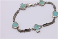 .925 Sterling Silver Blue Turqoise Bracelet