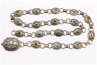 Rare Antique Navajo Sterling Turquoise Belt