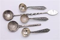1930s Mexico Souvenir Silver Coin Salt Spoons
