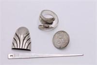 Vtg-Antique Sterling Belt Clip, Coin Button &