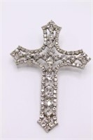 HUGE Costume Jewelry Rhinestone Cross Pendant