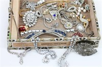 Stunning Antique Rhinestone Jewelry in Cigar Box