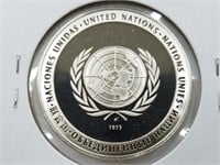 1973 United Nations 25 Grams Sterling Silver Coin