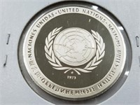 1974 United Nations 25 Grams Sterling Silver Coin