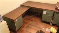 "Vintage Metal ""L"" Shaped Desk with Laminate Top"