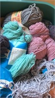 20 Gallon Plastic Tote Filled With Unsorted Yarn
