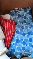 Box of Vintage Fabric Remnants and Sewing