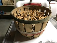 Basket of wooden clothespins