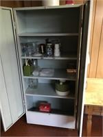 Two door white metal cabinet