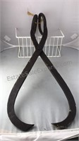 "Large Antique Cast Iron Ice Tongs 23"" Tall"