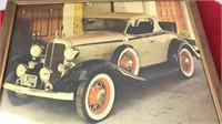 "3 Framed Antique Car Prints 13x10"" Matching"