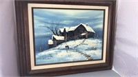 Signed Framed Winter Scene Appears to be Oil On