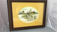 """Oval Matted Country Scene Framed Print 17x14"""""""