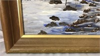 """Framed Signed and Dated Winter Scene 14x12"""""""