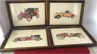 4 Antique Auto Prints In Matching Frames 12x9""