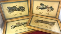 4 Antique Auto Prints In Matching Wood Frames