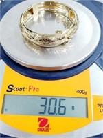 Ming's Designer 14K Jeweled Dragon Griffin Bangle