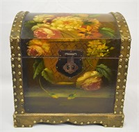 Floral Still Life Painted Storage Trunk