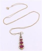 Ruby & Diamond Tier Heart 10K & 14K Necklace