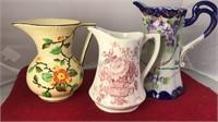 "3 Decorative Ceramic Pitchers 8 and 6"" Tall"