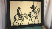 Vintage Framed Don Quixote Scene appears to be