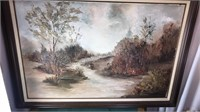"""Framed Landscape E Conners 42x31"""" appears to be"""