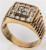 Jewelry 10kt Yellow Gold Men's Cocktail Ring