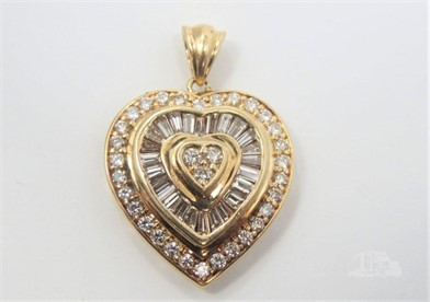 14K YELLOW GOLD 2.5 CT DIAMOND HEART PENDANT Other Items For