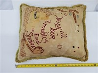 Rare Antique Tobacco Lounge Embroidered Pillow