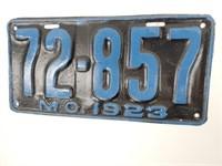 Original 1923 Missouri Liscence Plate