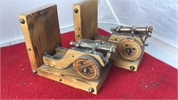 Pair of Vintage Wood and Brass Canon Bookends
