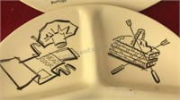 "2 Vintage Ceramic Divided Plates 10"" Diameter"