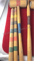 Vintage Croquet Set Wooden Mallets Posts and