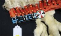 Abenaki Indian headdress, all feathers dyed,