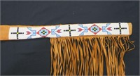 Abenaki Indian leather gun sleeve with beadwork,