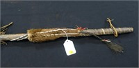 Abenaki Indian spear, bead and fur decoration,