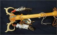 Abenaki Indian ceremonial staff with antlers,