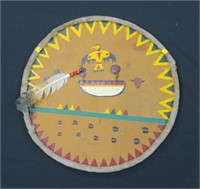 Abenaki  Indian shield with turkey feather, 2' D