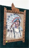 """Lot, 2 Indian chief and girl artwork, 20"""" x 14"""""""