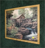 James E. Seward deer and mill scene print,
