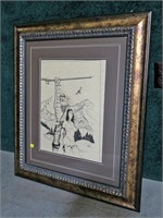 "Indian print, signed 18"" x 14"", frame size"