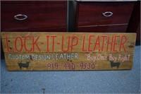 Lock It Up Leather Handmade Sign