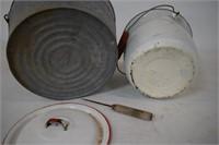 Galv. Bucket / Enamel Pot w/ Lid / Ice Pick