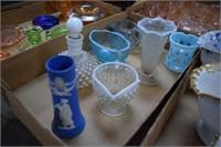 Blue / White Hobnail Glass